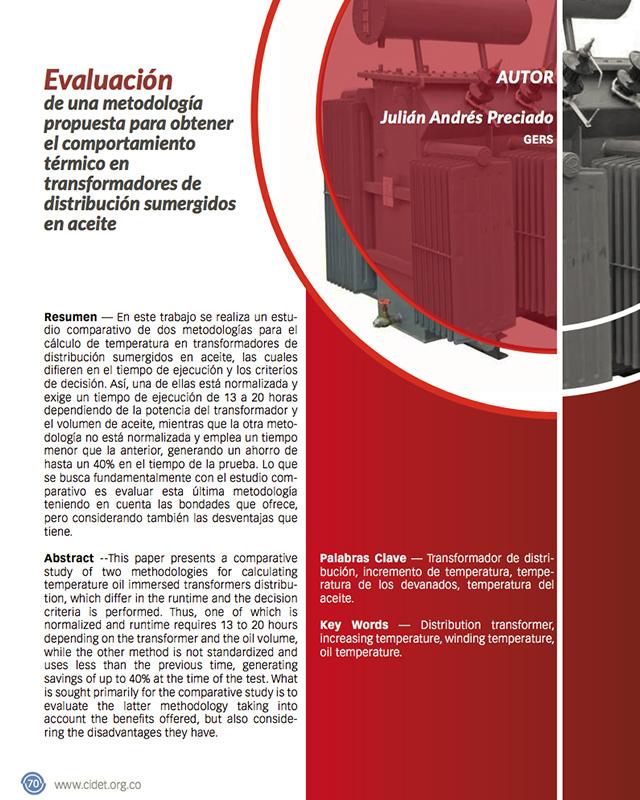 Evaluación de una metodología propuesta para obtener el comportamiento térmico en transformadores de distribución sumergidos en aceite