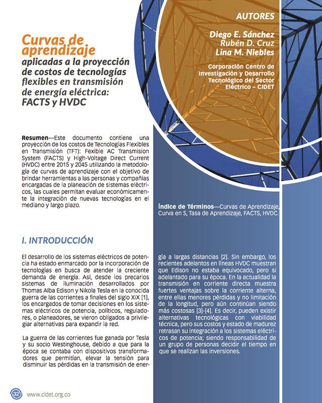 Curvas de aprendizaje aplicadas a la proyección de costos de tecnologías flexibles en transmisión de energía eléctrica: FACTS y HVDC