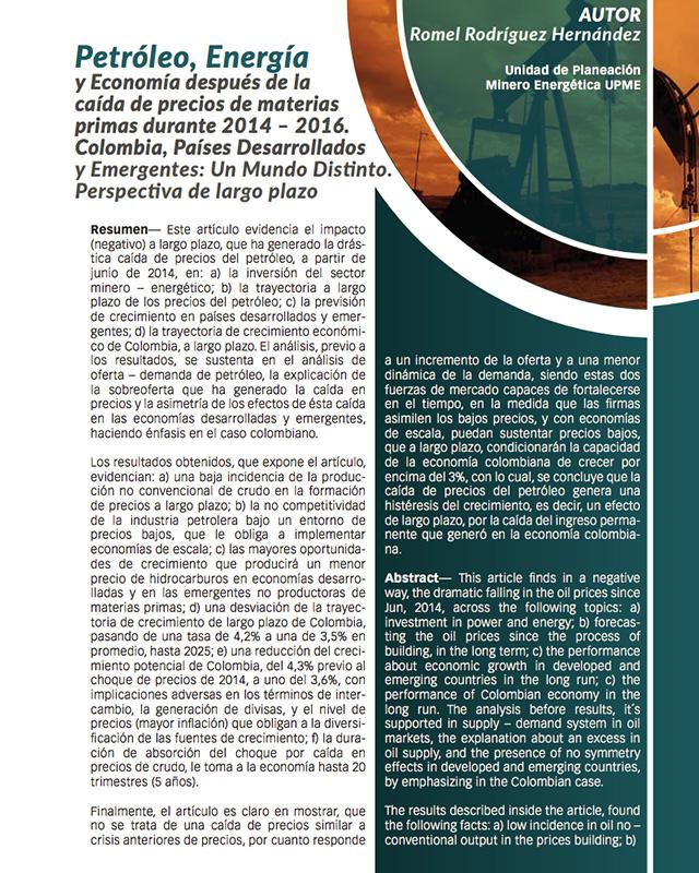 Petróleo, Energía y Economía después de la caída de precios de materias primas durante 2014 – 2016. Colombia, Países Desarrollados y Emergentes: Un Mundo Distinto. Perspectiva de largo plazo