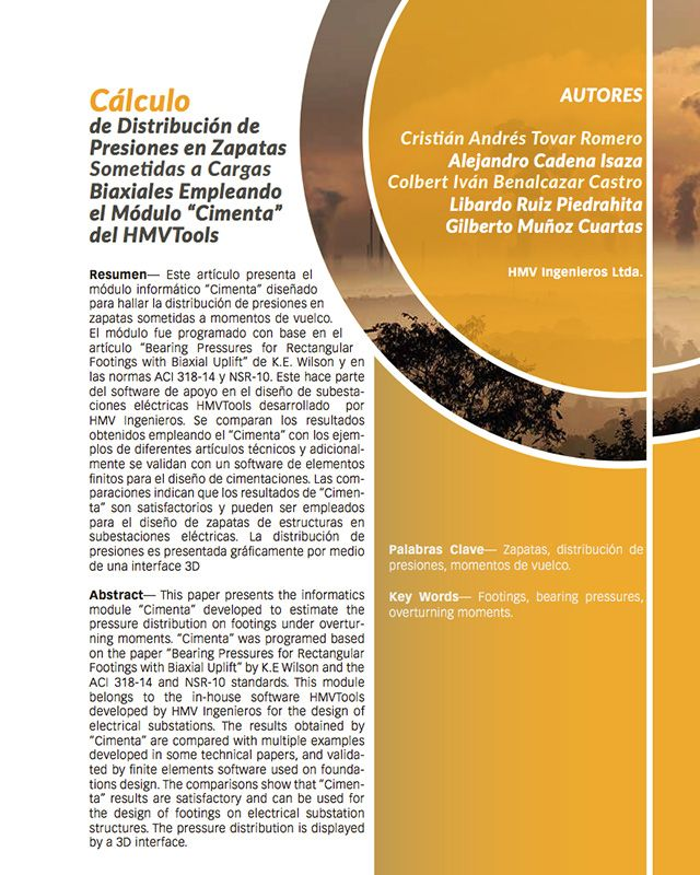 """Cálculo de Distribución de Presiones en Zapatas Sometidas a Cargas Biaxiales Empleando el Módulo """"Cimenta"""" del HMVTools"""
