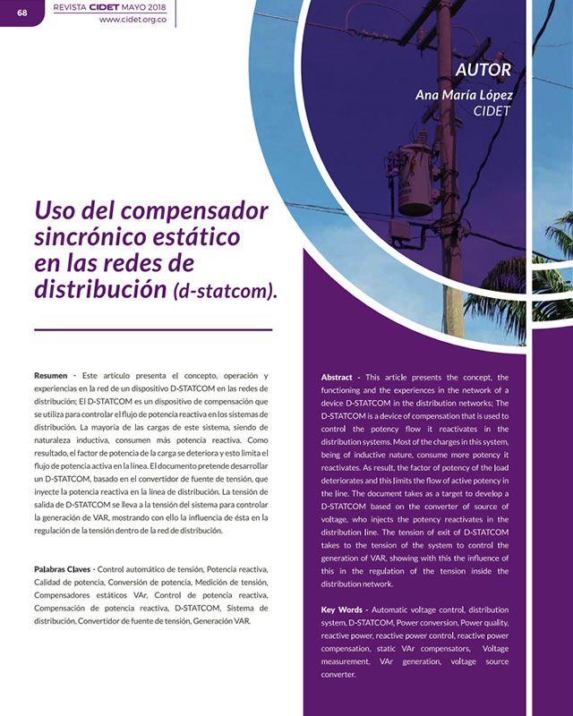 Uso del compensador sincrónico estático en las redes de distribución (D-statcom)