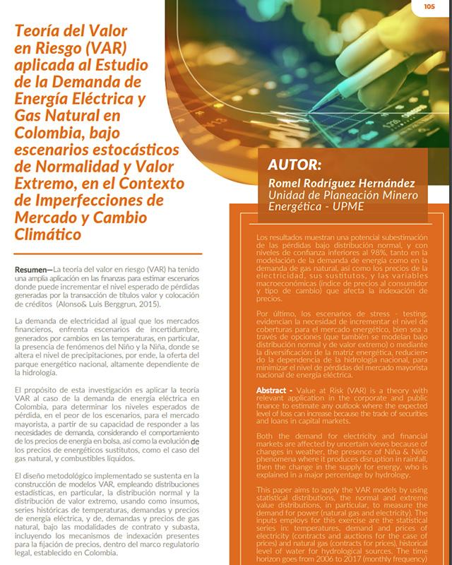 Teoría del valor en riesgo (var) aplicada al estudio de la demanda de energía eléctrica y gas natural en colombia, bajo escenarios estocásticos de normalidad y valor extremo, en el contexto de imperfecciones de mercado y cambio climático