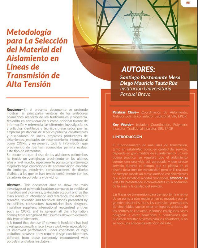 Metodología para la selección del material del aislamiento en líneas de transmisión de alta tensión