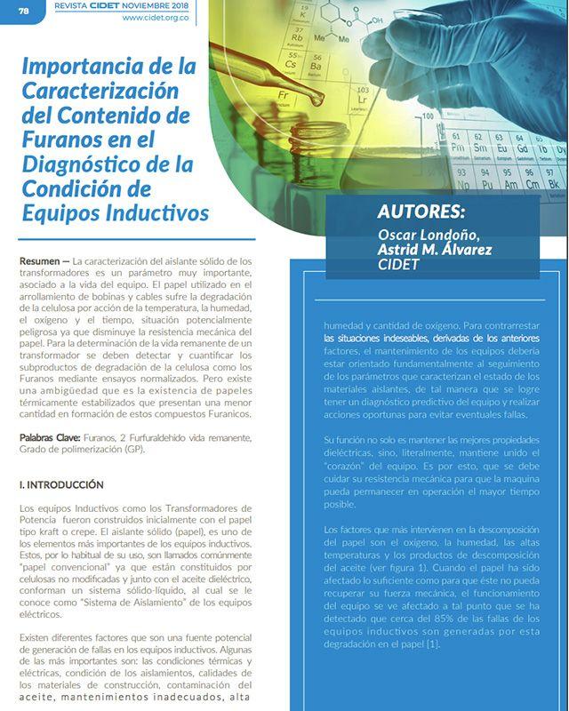 Importancia de la caracterización del contenido de furanos en el diagnóstico de la condición de equipos inductivos