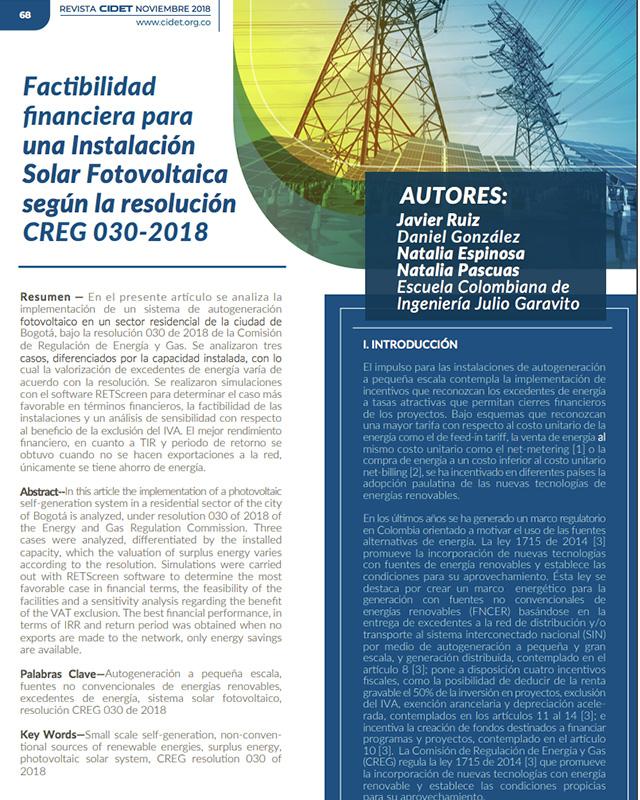 Factibilidad financiera para una instalación solar fotovoltaica según la resolución creg 030-2018