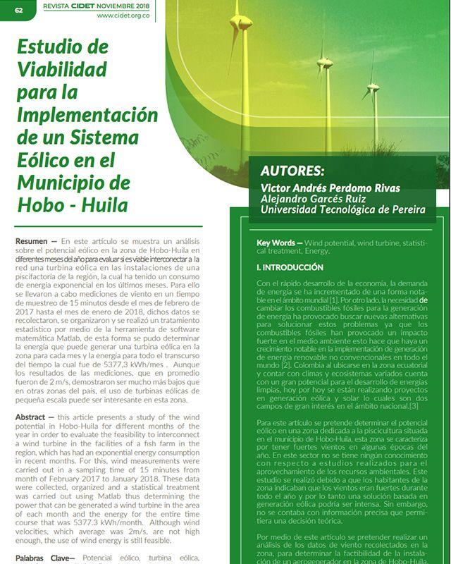 Estudio de viabilidad para la implementación de un sistema eólico en el municipio de hobo – Huila