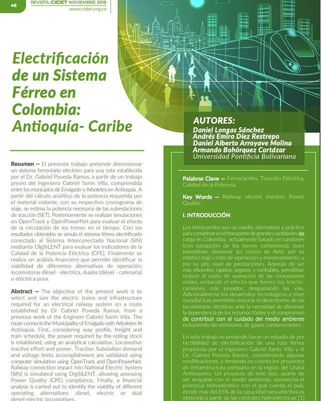 Electrificación de un sistema férreo en Colombia: Antioquía- caribe ial