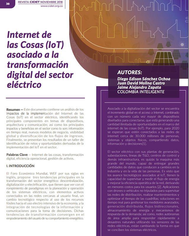 Internet de las cosas (iot) asociado a la transformación digital del sector eléctrico
