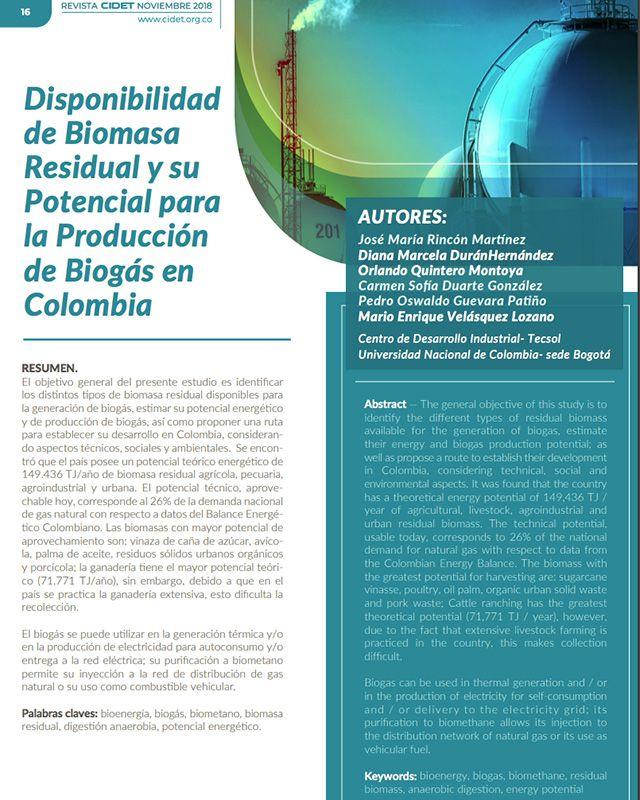 Disponibilidad de biomasa residual y su potencial para la producción de biogás en Colombia