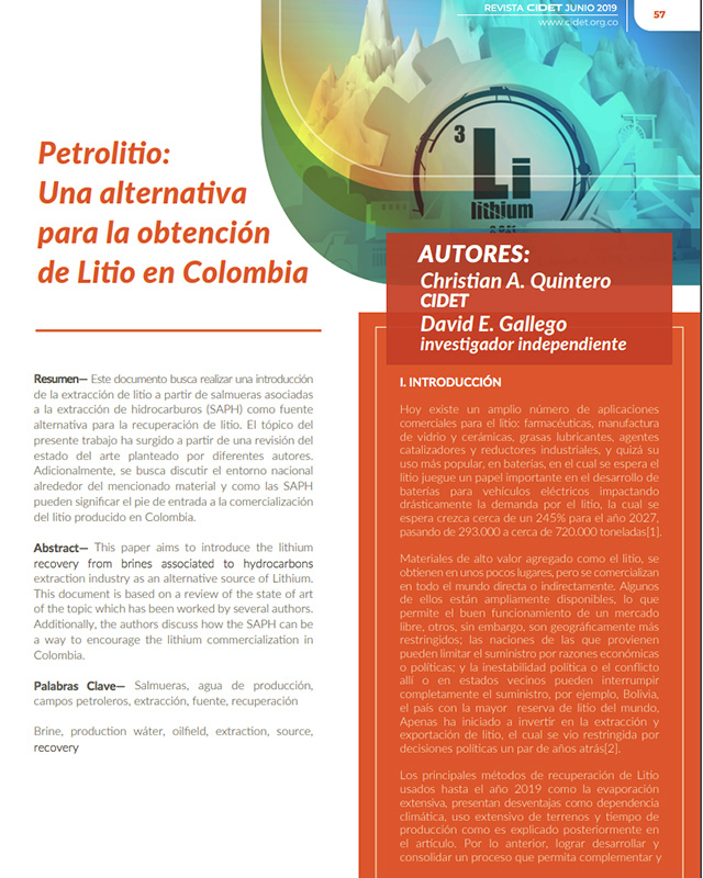 PETROLITIO: UNA ALTERNATIVA PARA LA OBTENCIÓN DE LITIO EN COLOMBIA