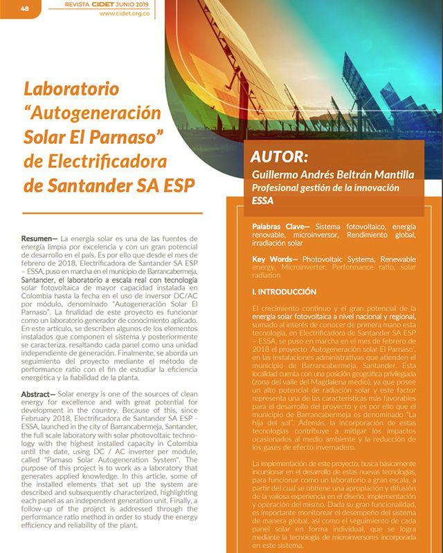 """LABORATORIO """"AUTOGENERACIÓN SOLAR EL PARNASO"""" DE ELECTRIFICADORA DE SANTANDER SA ESP"""