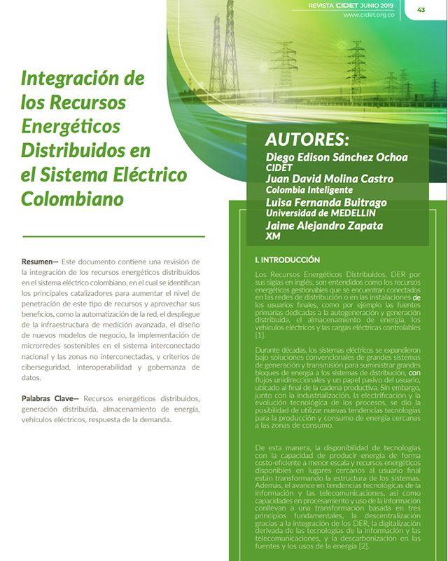 INTEGRACIÓN DE LOS RECURSOS ENERGÉTICOS DISTRIBUIDOS EN EL SISTEMA ELÉCTRICO COLOMBIANO
