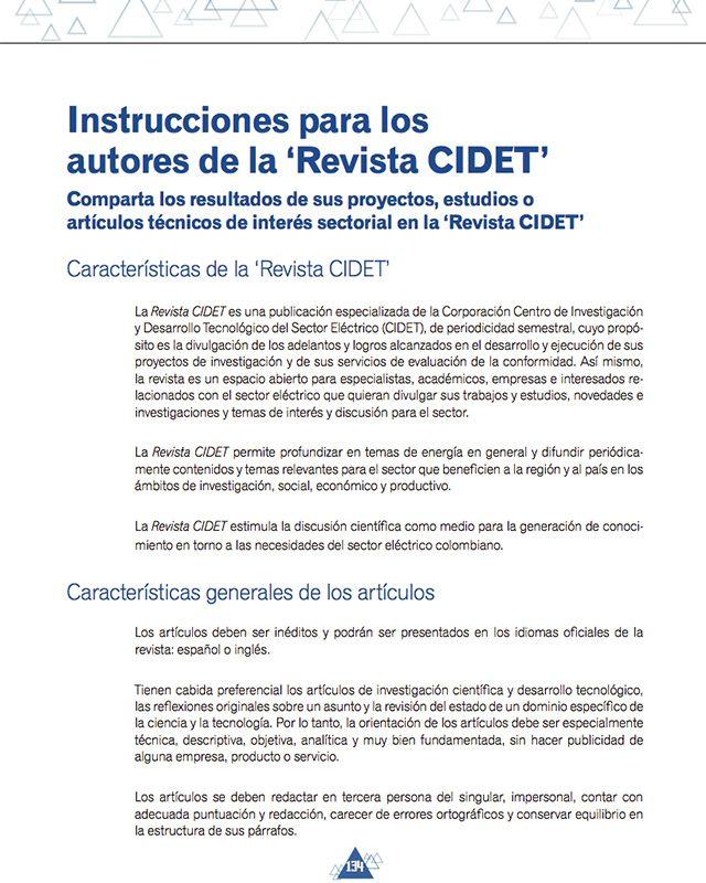 Instrucciones para los autores de la Revista CIDET