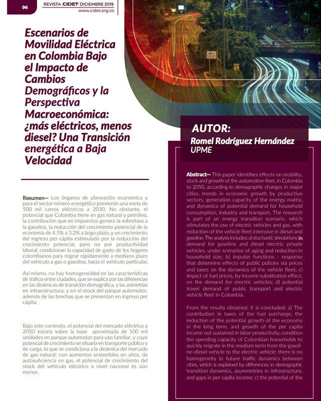 ESCENARIOS DE MOVILIDAD ELÉCTRICA EN COLOMBIA BAJO EL IMPACTO DE CAMBIOS DEMOGRÁFICOS Y LA PERSPECTIVA MACROECONÓMICA: ¿MÁS ELÉCTRICOS, MENOS DIESEL? UNA TRANSICIÓN ENERGÉTICA A BAJA VELOCIDAD
