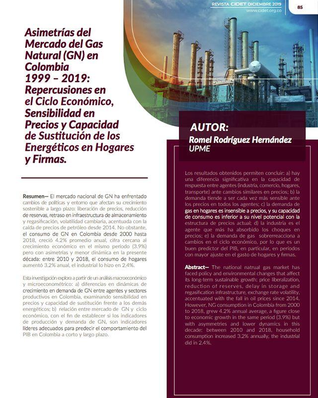 ASIMETRÍAS DEL MERCADO DEL GAS NATURAL (GN) EN COLOMBIA 1999 – 2019: REPERCUSIONES EN EL CICLO ECONÓMICO, SENSIBILIDAD EN PRECIOS Y CAPACIDAD DE SUSTITUCIÓN DE LOS ENERGÉTICOS EN HOGARES Y FIRMAS.