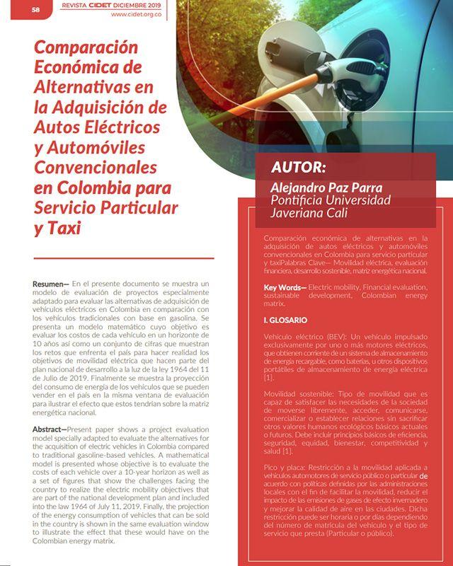 COMPARACIÓN ECONÓMICA DE ALTERNATIVAS EN LA ADQUISICIÓN DE AUTOS ELÉCTRICOS Y AUTOMÓVILES CONVENCIONALES EN COLOMBIA PARA SERVICIO PARTICULAR Y TAXI