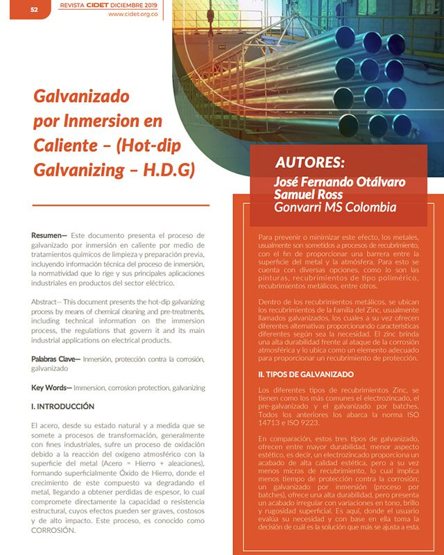 GALVANIZADO POR INMERSION EN CALIENTE – (HOT-DIP GALVANIZING – H.D.G)