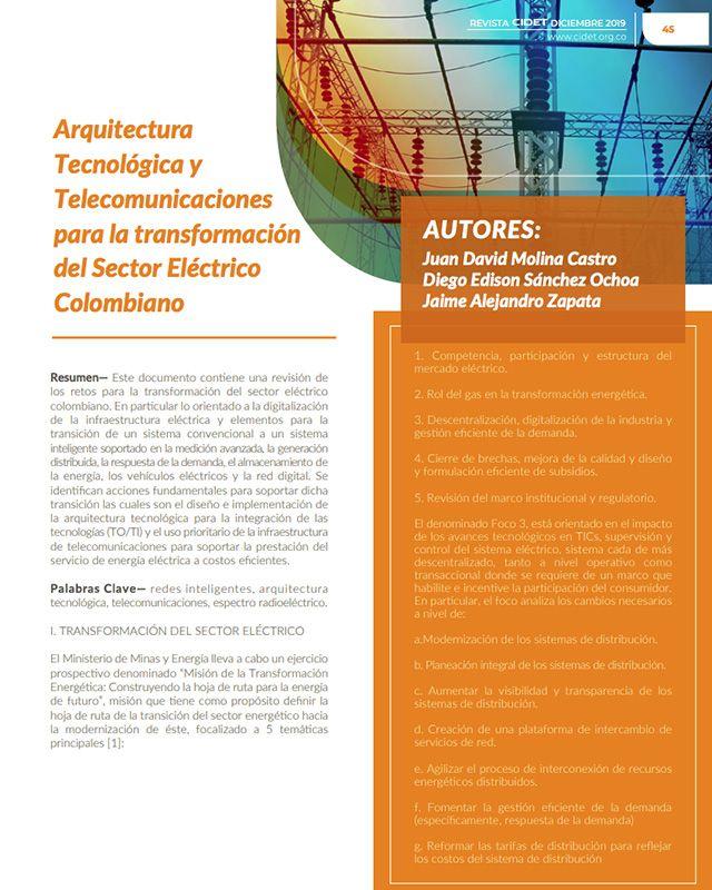 ARQUITECTURA TECNOLÓGICA Y TELECOMUNICACIONES PARA LA TRANSFORMACIÓN DEL SECTOR ELÉCTRICO COLOMBIANO