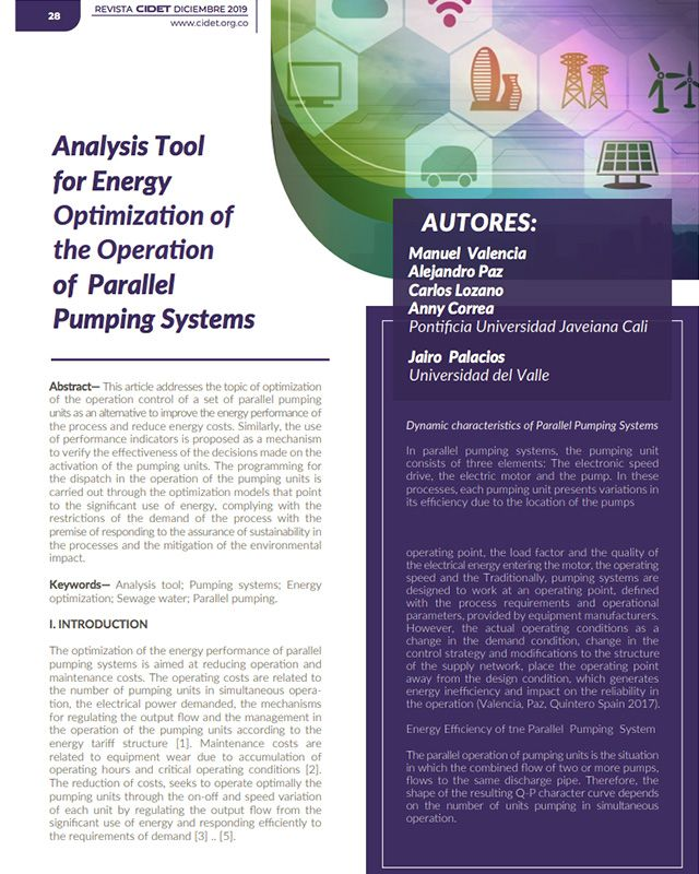 ANALYSIS TOOL FOR ENERGY OPTIMIZATION OFTHE OPERATION OF PARALLEL PUMPING SYSTEMS