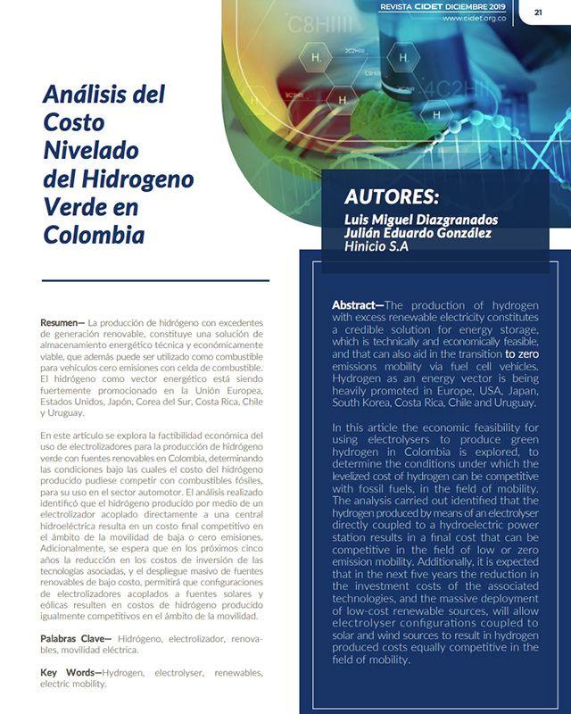 ANÁLISIS DEL COSTO NIVELADO DEL HIDROGENO VERDE EN COLOMBIA
