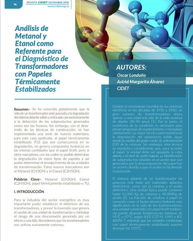 ANÁLISIS DE METANOL Y ETANOL COMO REFERENTE PARA EL DIAGNÓSTICO DE TRANSFORMADORES CON PAPELES TÉRMICAMENTE ESTABILIZADOS