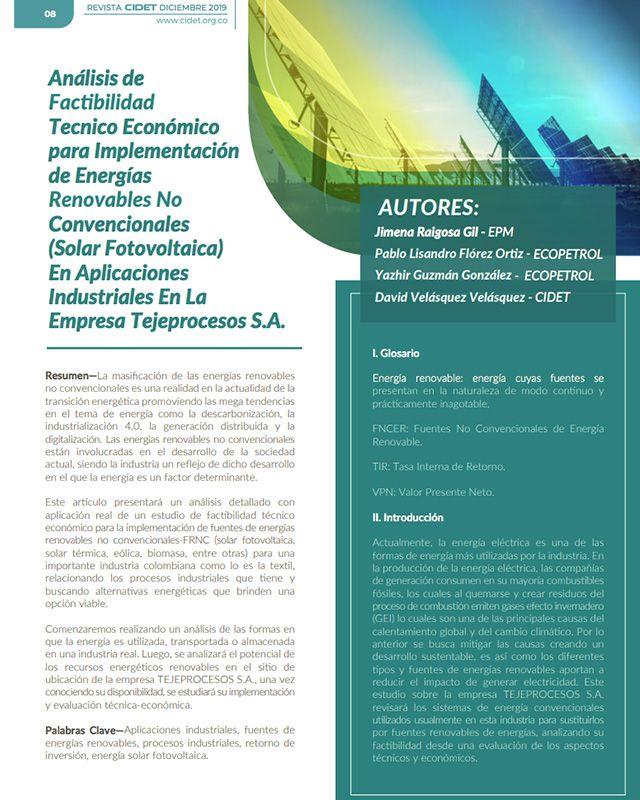 ANÁLISIS DE FACTIBILIDAD TECNICO ECONÓMICO PARA IMPLEMENTACIÓN DE ENERGÍAS RENOVABLES NO CONVENCIONALES (SOLAR FOTOVOLTAICA) EN APLICACIONES INDUSTRIALES EN LA EMPRESA TEJEPROCESOS S.A.