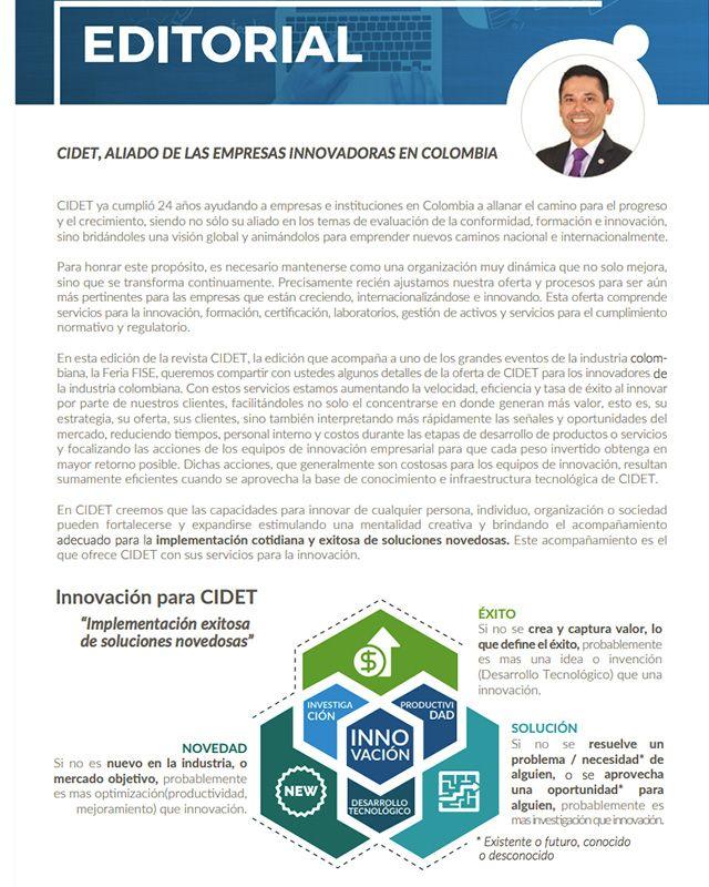 EDITORIAL: CIDET, ALIADO DE LAS EMPRESAS INNOVADORAS EN COLOMBIA